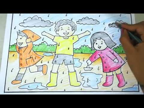 How To Draw Kids Enjoying Rainy Season Easy Scenary Drawing Tutorial For Kids Youtube Rainy Day Drawing Drawing For Kids Drawing Tutorial