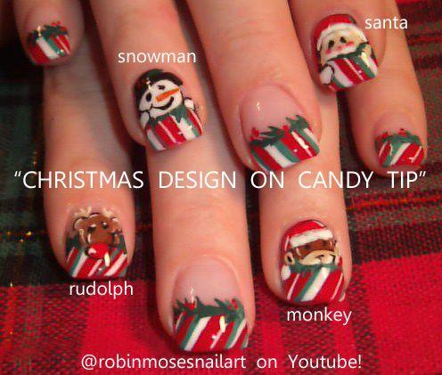 Nail-art by Robin Moses: christmas nails, sock monkey nail, snowman nail, santa nail, rudolph nail, red nose nail, candy cane nail tip, xmas stocking nail, stocking nail, christmas present nail, peppermint nail, cinnamon nail, monkey nail, christmas 2011 nail, 2012 nail art,