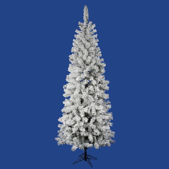 Vickerman 7.5Ft. Flocked White on Green 438 Tips Christmas Tree
