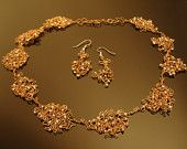 Delicate wire lace necklace and earrings set