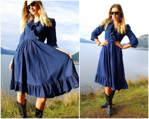 70&39s Denim Dress By Barbara Barbara - Navy Blue Cotton Dress ...
