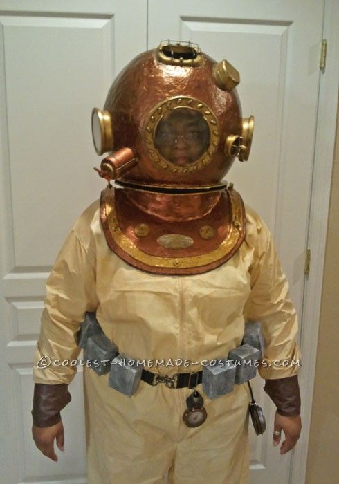 Awesome Homemade Antique Deep Sea Diver Halloween Costume
