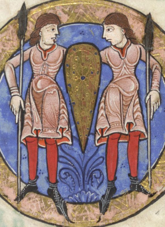 Gemini. From the Hunterian Psalter, produced in England ca. 1170. Glasgow University Library MS Hunter 229, folio 3r.