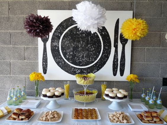 yellow dessert table