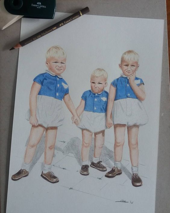 """""""Brothers""""  Made a coloured pencil drawing of an old family photo from 1958. As you can see I couldn't draw a lot of detail. Can't wait to tease my big brothers  with their chubby little knees…"""
