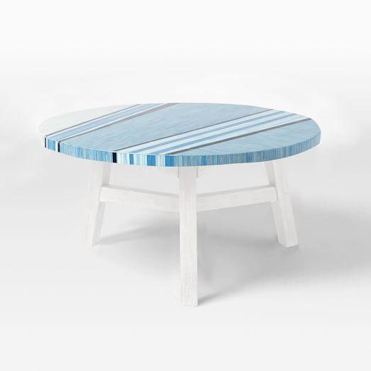 Mosaic Coffee Table Asymmetric Stripe Tile Top-Glass/White Base