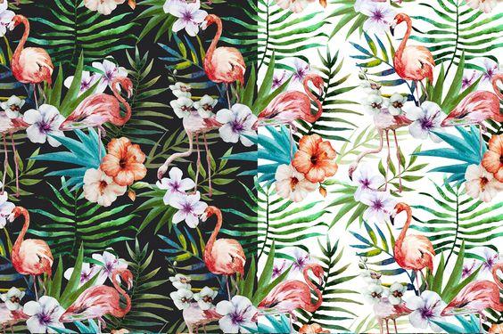 Tropic flamingo watercolor set by Anastasia Lembrik on Creative Market