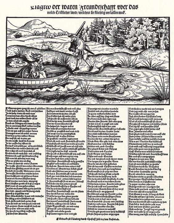Title: Klage der wahren Freundschaft              Tags: Hat, Gun              Date: 1534                        Artist: Erhard Schoen              Provenance: Germany              Collection: Herzogliches Museum (Landesmuseum)