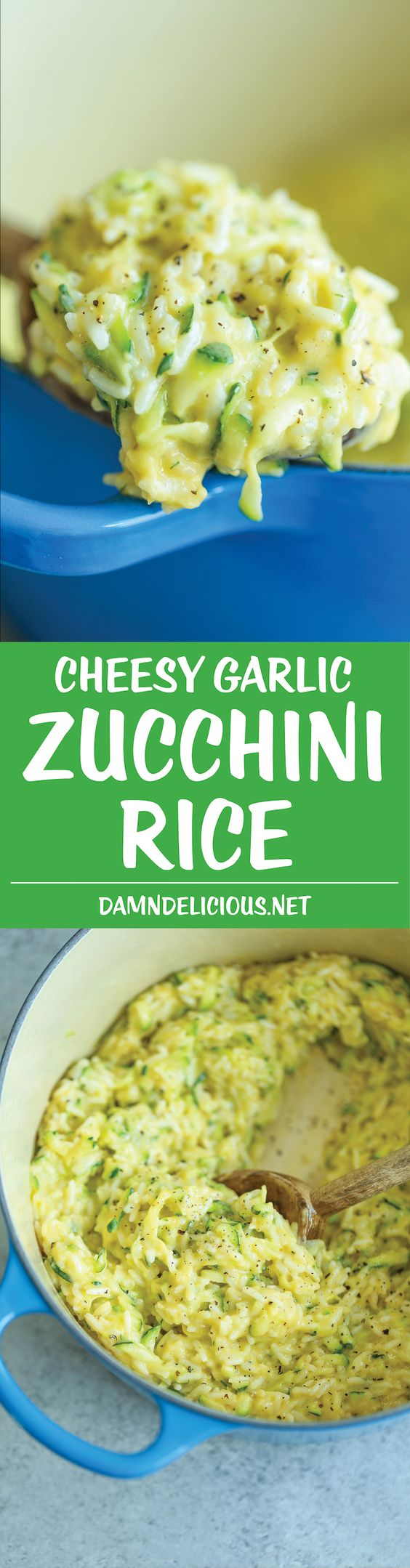 Cheesy Garlic Zucchini Rice - Made in ONE POT! So easy. So cheesy. So garlicky…