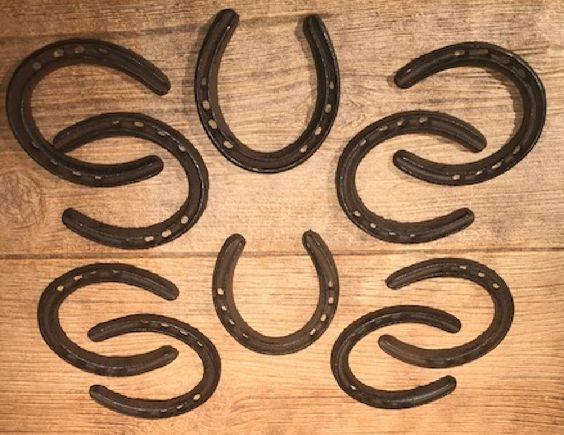 "0170-05210 Set of 2 Medium Horse Shoe Rustic Cast Iron 4 1//4/"" tall"