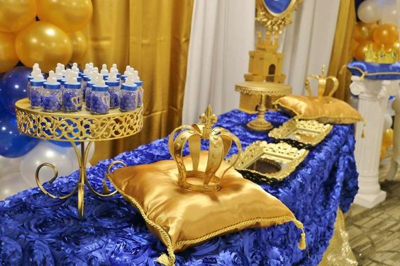 blue and gold at a royal prince baby shower party see more party