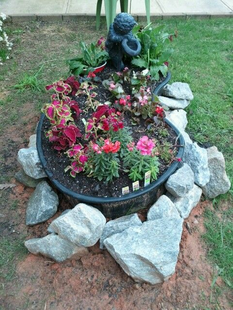 Flower Pond Made With A 4x8 Hard Plastic Fish Pond