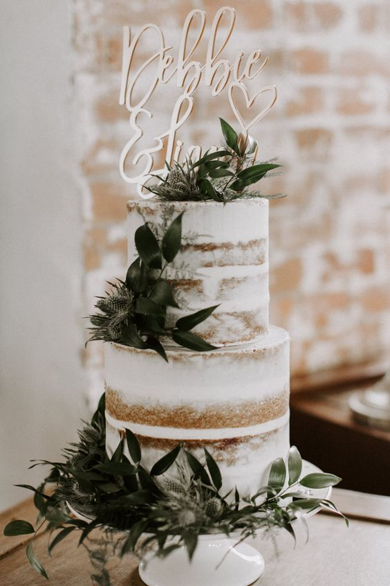 Semi Naked Wedding Cake With Foliage // Images By Grace Elizabeth Photo And Film