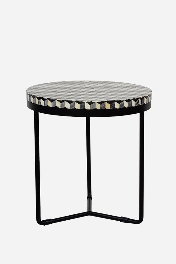 Bone Inlay Side Table - Round, Cuban