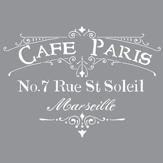Cafe Paris Sjabloon heeft een oude nostalgische uitstraling. Dat is de reden dat je het Cafe Paris Sjabloon regelmatig ziet op brocante meubels of brocante gemaakte meubels en vintage meubels. Het sjabloon zie je vaak op de zijkant van een kast, op een dienblad of een butler tray. Een leuke mogelijkheid is om dit sjabloon te gebruiken om je eigen Vintage schilderij te maken