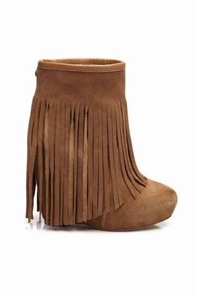 Koolaburra Veleta Wedge Heel Fringe Boot in Chestnut