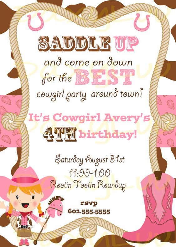 Cowgirl Birthday Party Invitation Pink and Brown by DaxyLuu – Cowgirl Birthday Invitation