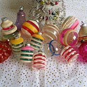 15 Vintage Christmas Ornaments Clear Mica Sugar