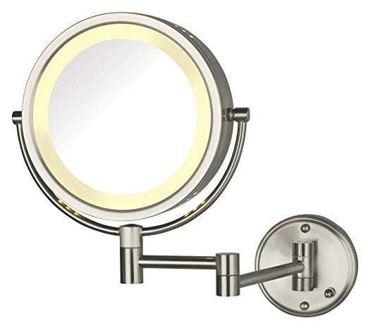 Jerdon Hl75nd 8 5 Inch Lighted Direct Wire Wall Mount Makeup Mirror With 8x Magnification Nickel Finish Review Wall Mounted Makeup Mirror Mirror Makeup Mirror