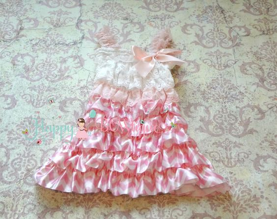 Valentine's Sweet Pink Chevron Dress Flower girls by HappyBOWtique