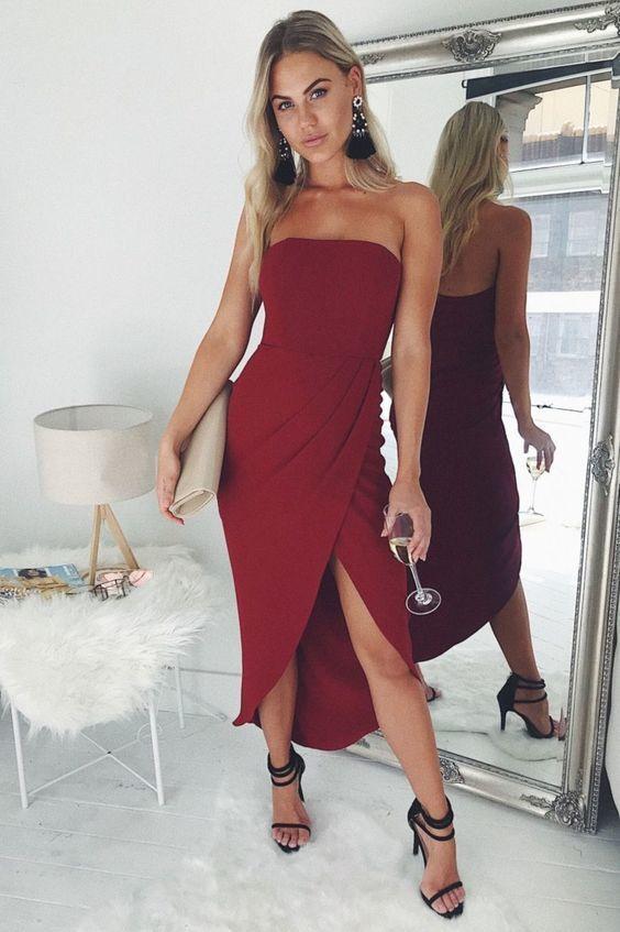 womens ladies strapless boobtube midi high slit split bodycon celeb party dress
