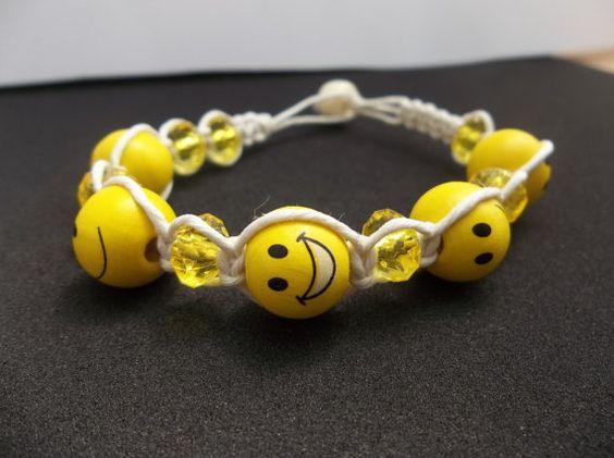Hemp Bracelet...white hemp....smiley face by CaliGirlCustoms, $7.99