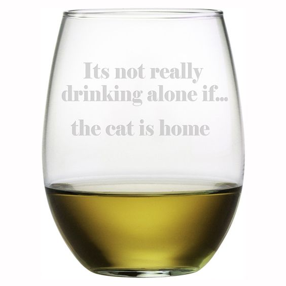 The Cat Is Home Stemless Wine Glass (Set of 4)