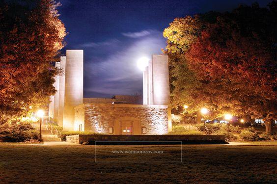 #vtwmc | War Memorial Chapel in moonlight. Virginia Tech.