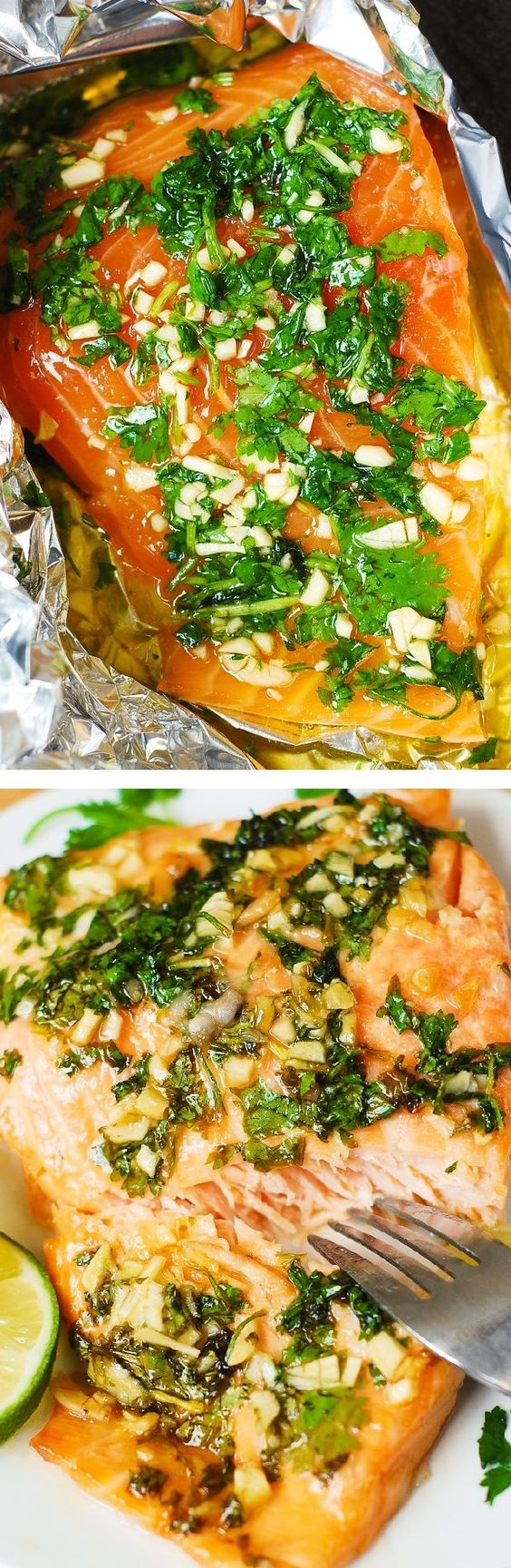 Cilantro-Lime Honey Garlic Salmon (baked in foil) - Easy, healthy recipe that takes 30 minutes from start to finish.