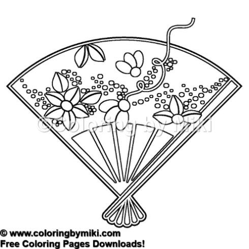 Japanese Design Fan Coloring Page 1029 Coloring By Miki