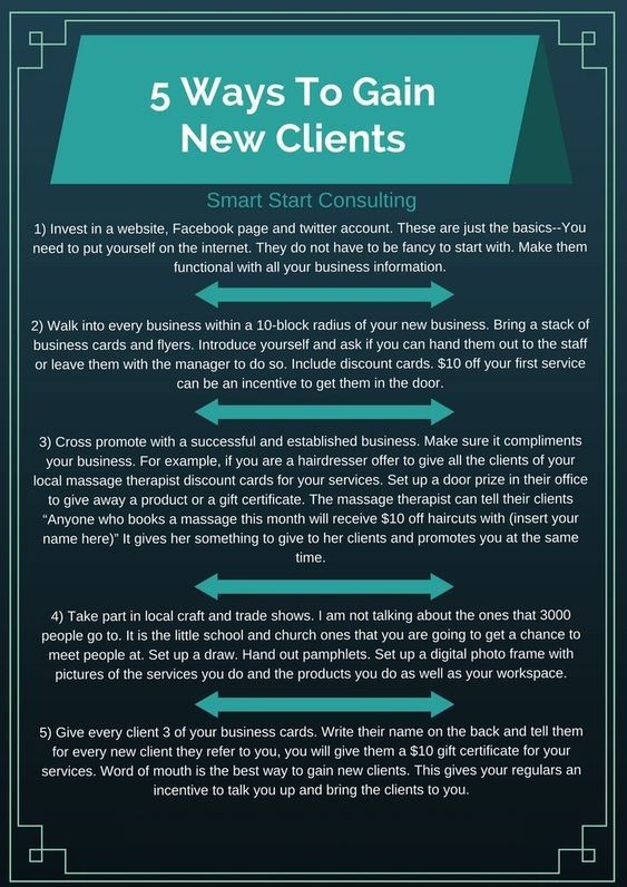 5 Ways To Gain New Clients Smart Start Consulting Massage Business Small Business Organization Business Marketing