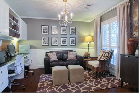Dining room turned into a study only put bookshelves on for Dining room office ideas