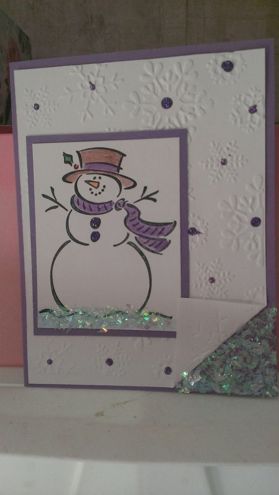 Snowman christmas greeting card handmade cards snowman for Handmade snowman christmas cards