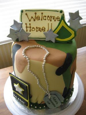Super cute welcome home cake for a welcome home party for Welcome home cake decorations