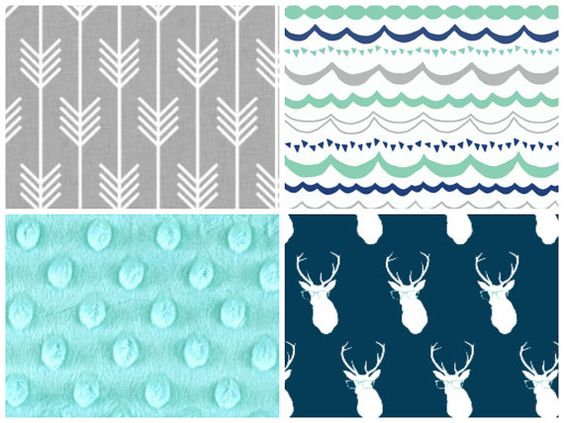 Crib Bedding Set Aqua Gray Navy Modern Woodland By Blvd67 On Etsy 25 00 Maridon