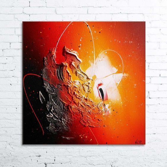 Event horizon 2 tableau abstrait moderne contemporain peinture acrylique en relief for Peintures couleurs chaudes