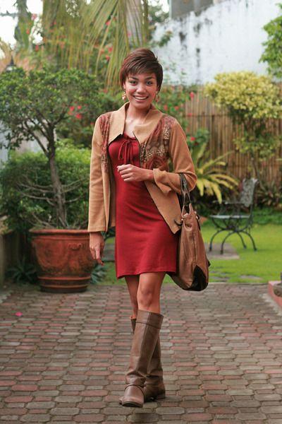 dark brown boots - brick red leaf &amp co F*ART dress - tan jacket ...