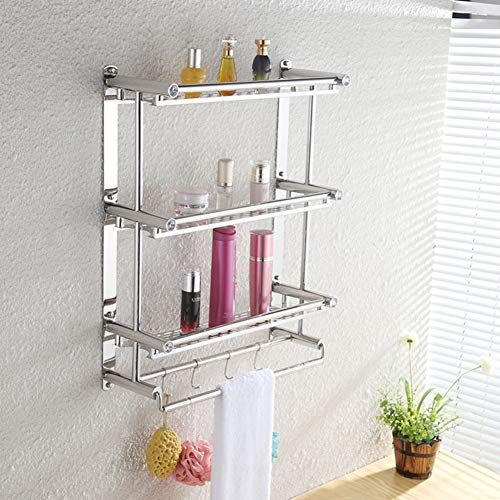 3 Tier Stainless Steel Bathroom Shelves Organizer Shelf Towel