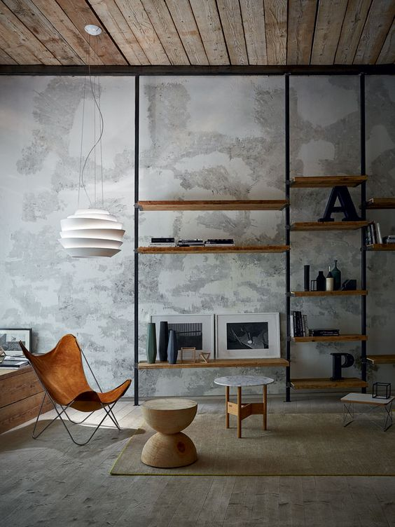 壁一面 本棚 インダストリアル ブラックスチール 木 インテリア コーディネート例