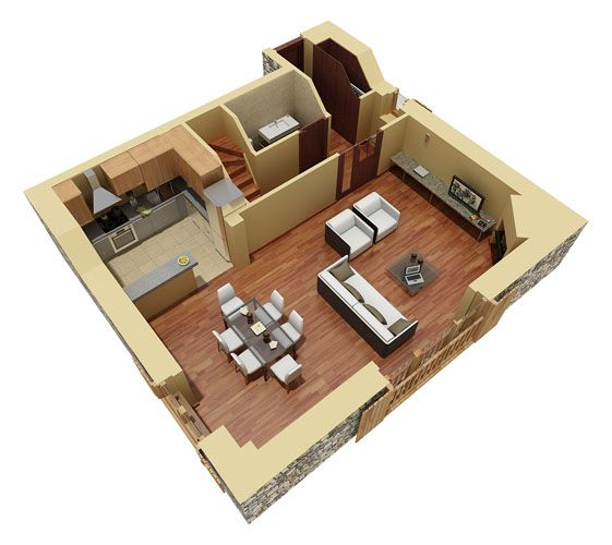 Residential duplex 3d floor plan 3d house plans home for House designs 3d model