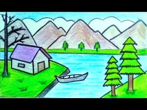 رسم منظر طبيعي سهل جدا رسومات جميلة وسهلة تعليم الرسم Youtube Youtube