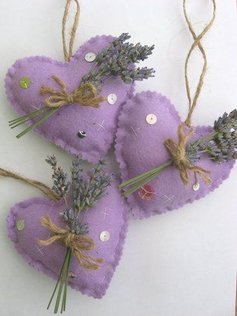 Heart Ornaments - Felt and Lavender