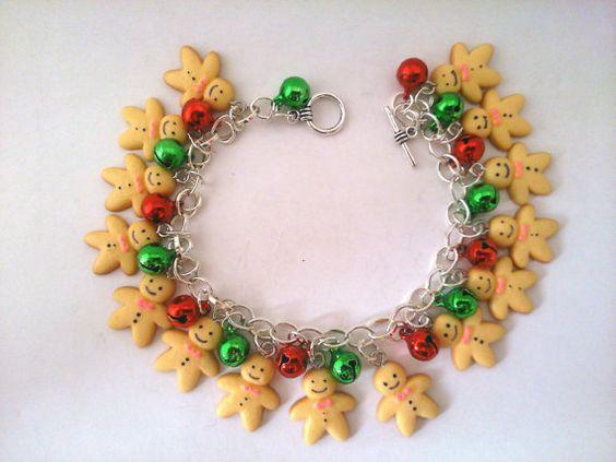 Christmas charm bracelet Gingerbread men by Specialgiftsonline