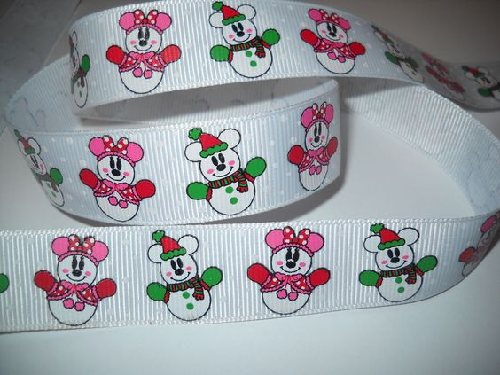 "GROSGRAIN CHRISTMAS SNOWMAN 7/8"" INCH RIBBON *YOUR CHOICE OF 1, 3 or 5 YARDS"