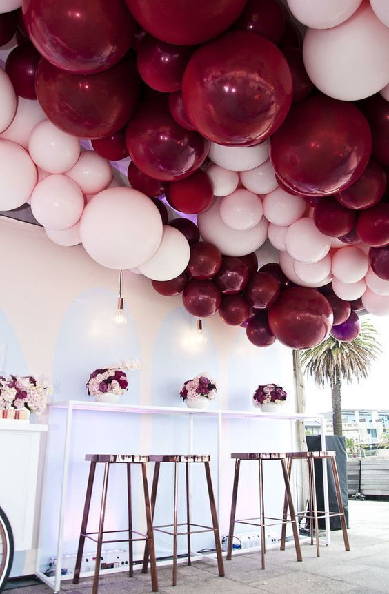 Balloon Roof Feature Pastel Pink And Burgundy Kids Party Ideas Hooray Mag Wedding Balloons Party Balloons Balloon Ceiling