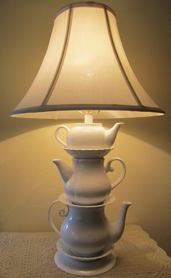 White teapots masquerading as a lamp, beautiful.