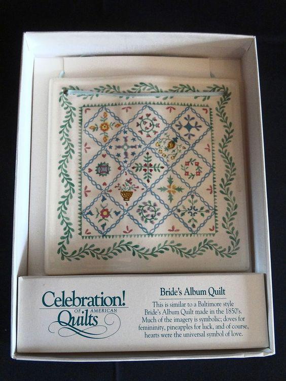 Celebration of American Quilts Ceramic Tile Ornament ~ BRIDE'S ALBUM QUILT ~ MIB