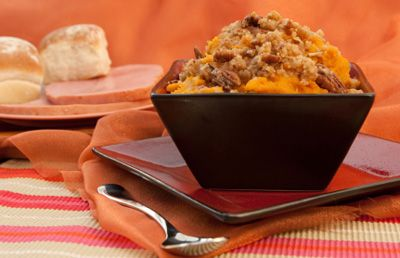 Here is a crunchy sweet potato casserole to try with your turkey and potatoes.