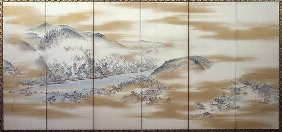 Famous Places in Kyoto (Left : Arashiyama), by Maruyama Okyo. Edo period. 18c Pair of 6-panel screens, gold and color on paper. Miho Museum. Japan