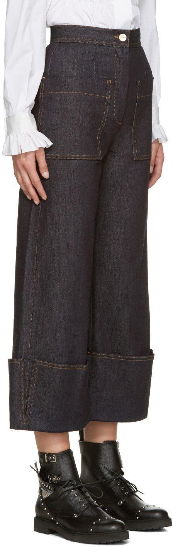 Fendi - Navy Wide-Leg Jeans: